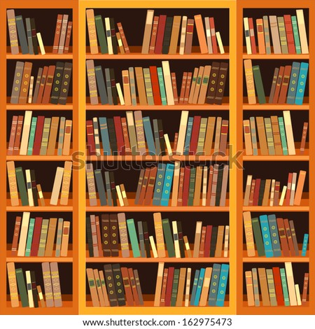 Large bookcase with different books - stock vector