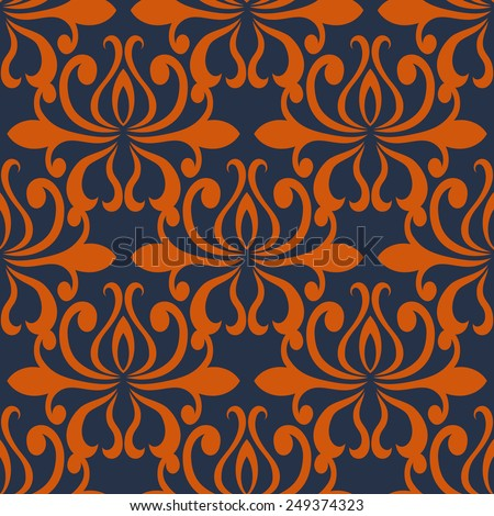 Large busy bold arabesque seamless pattern in red and blue with a large repeat floral motif in square format suitable for textile or wallpaper - stock vector