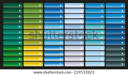 Large collection of bright web buttons with arrow. Combination of all primary colors. Pointer to the left, right, up, down, open, close, next, previous. - stock vector