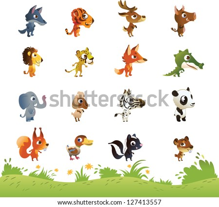 Large Collection of Cartoon Animals - stock vector