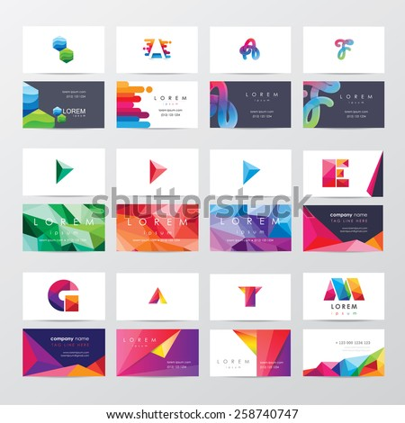 large collection of colorful business card template designs with logo icons for business visual identity - stock vector