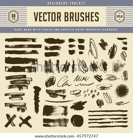 large collection of grunge vector brush strokes and textures - pencil scribbles, marker lines, charcoal, ink, chalk and acrylic paint - stock vector