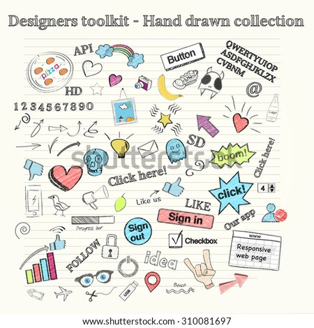 Large collection of hand drawn objects - stock vector