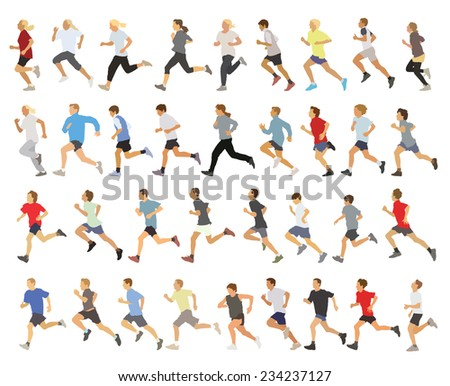 Large collection of running silhouettes, teenagers, boys and girls. - stock vector