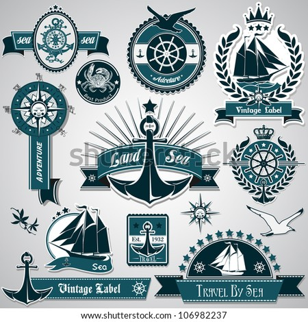 Large collection of vintage nautical labels - stock vector