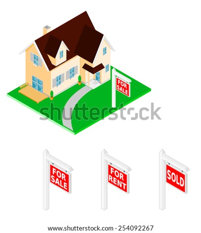 Large family home for sale with signs. New Home. New Home with for sale, sold and rent options. - stock vector