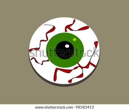 large green bloodshot eyeball - stock vector