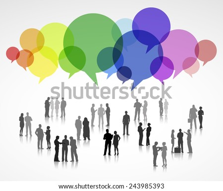 Large Group of Business People with Speech Bubbles - stock vector