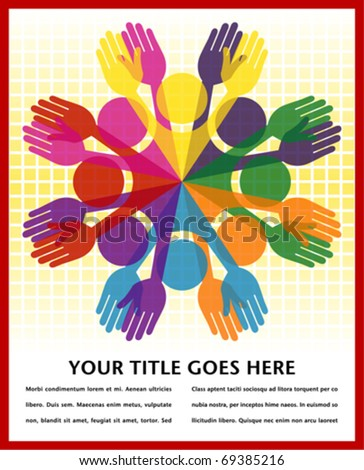 Large group of colorful people with space for your text. - stock vector