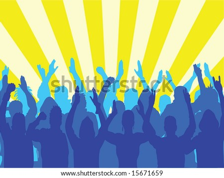 large group of people at a party festival or concert - stock vector