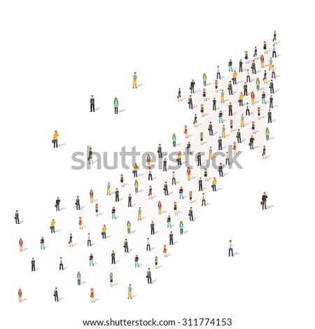 Large group of people cooperating in shape of an arrow. Flat style vector illustration isolated on white background. - stock vector