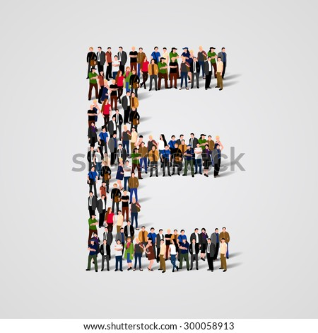 Large group of people in letter E form. People font. Clean vector font. Vector seamless background - stock vector