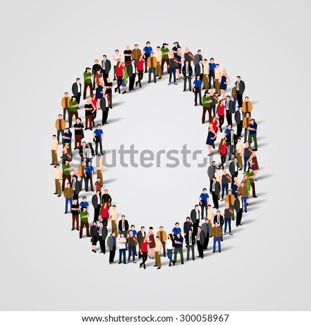 Large group of people in letter O form. People font. Clean vector font. Vector seamless background - stock vector