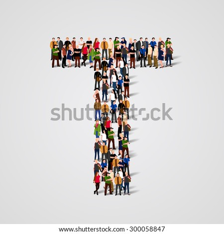 Large group of people in letter T form. Vector seamless background - stock vector
