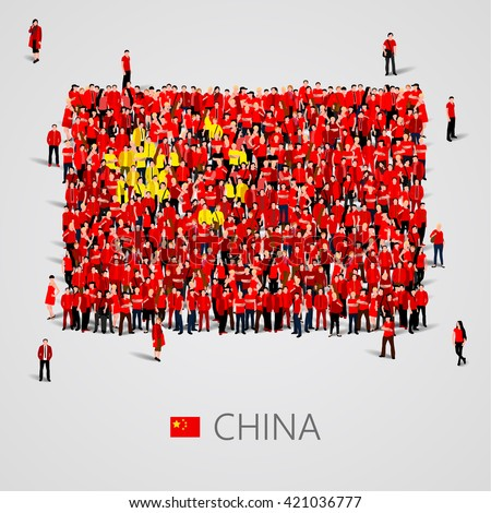 Large group of people in the shape of China flag. People's Republic of China. Population concept. Vector illustration - stock vector