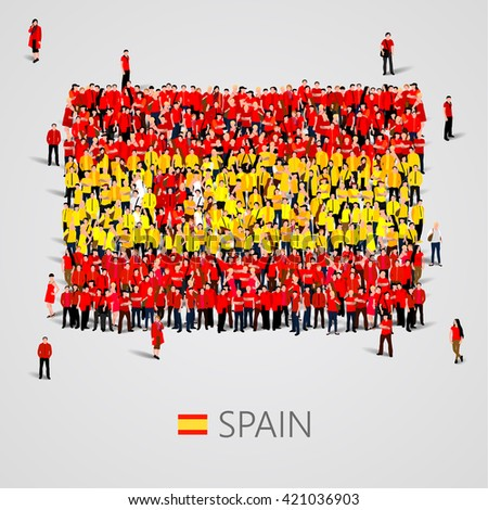 Large group of people in the shape of flag. Spain. Spain flag. Spain flag art. Spain flag image. Spain flag picture. Spain flag people. Spain flag EPS. Spain  Flag vector. Vector illustration - stock vector