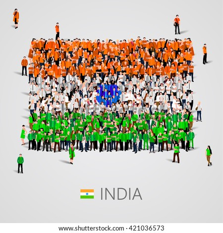Large group of people in the shape of Indian flag. Republic of India.  Vector illustration - stock vector