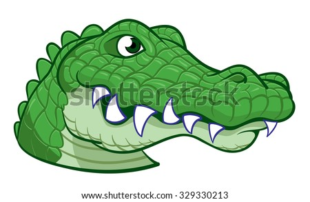 Large Head of a hand drawn wild happy alligator - stock vector
