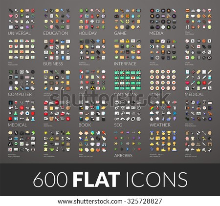 Large icons set, 600 vector pictogram of flat colored with shadows isolated on gray background - stock vector