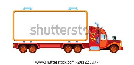 Large lorry with blank container ready for custom text or logos - stock vector
