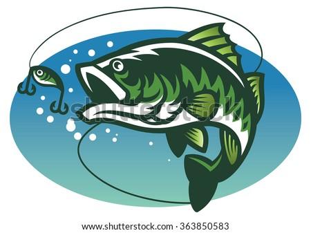 large mouth bass fish mascot - stock vector