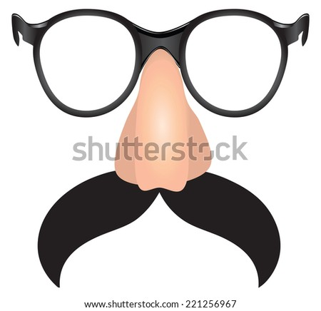 Large mustache with plastic nose and glasses. Vector illustration.  - stock vector