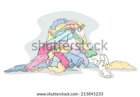 Large Pile of Laundry clothing ready to be cleaned - stock vector