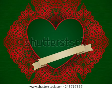 Large red heart on baroque ornament in Victorian style. Green background and red element for design. Vintage invitation with floral motifs. Cover design for greeting and wedding card. - stock vector