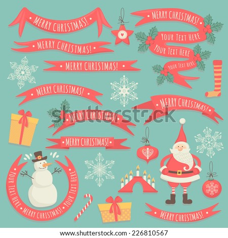 "Large set ""Merry Christmas."" Set of banners and elements. - stock vector"