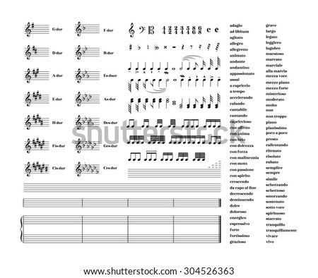 Large set of all music signs, keys, tonality and note staves for note transcription isolated on white - stock vector