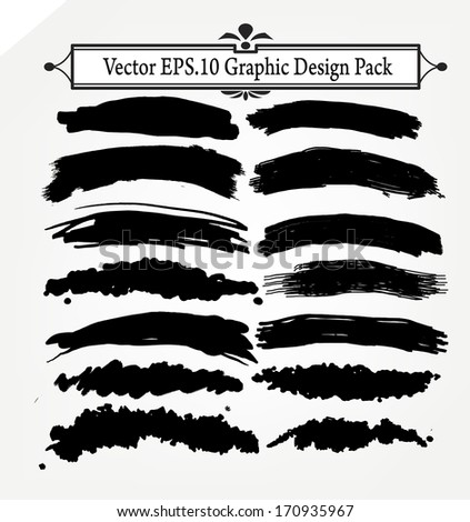 Large set of brush marks and banners, eps 10 - stock vector