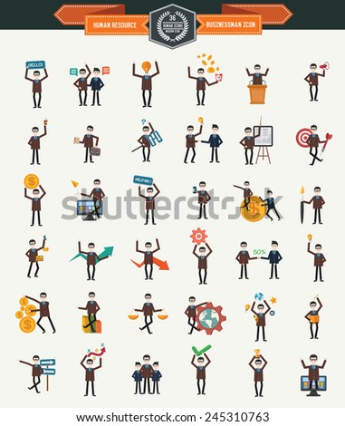 Large set of 36 businessmen icons,Human resource,clean vector - stock vector