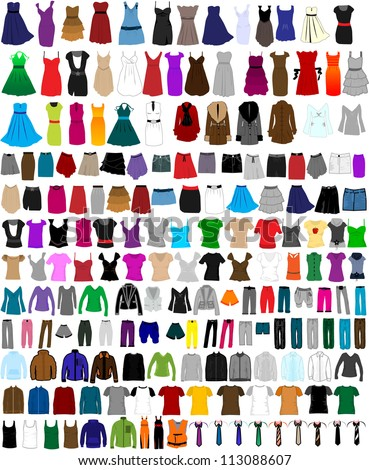 Large set of clothes for men and women - stock vector