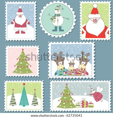 Large Set of colorful Christmas Postage stamps.Vector illustration - stock vector