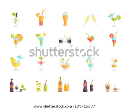 Large set of colorful vector icons of festive party tropical cocktails and alcoholic beverages and drinks such as beer  juice  coffee  wine and champagne on white - stock vector
