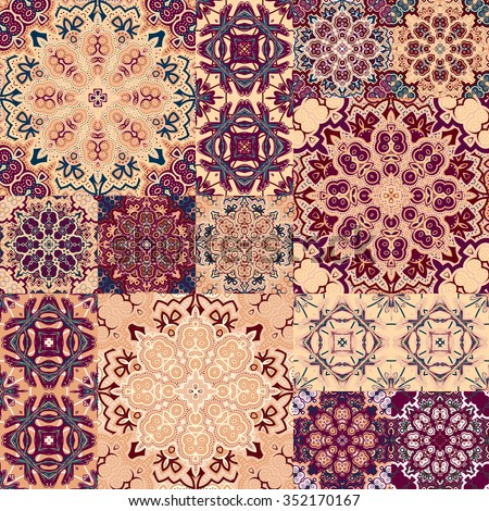 Large set of colorful vintage ceramic tiles with ornate Moroccan patterns. Backgrounds & textures shop. - stock vector