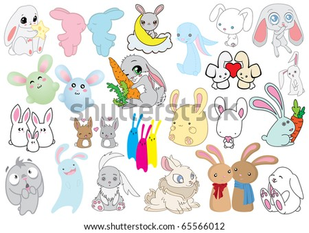 Large set of different rabbits. - stock vector