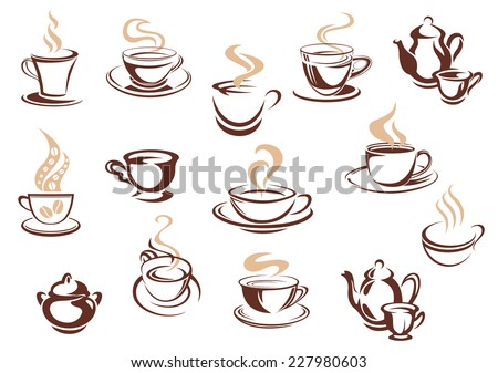 Large set of doodle sketch coffee icons in brown and white with steaming cups and mugs of coffee in various shapes, vector illustration on white. For cafe, restaurant or menu design - stock vector