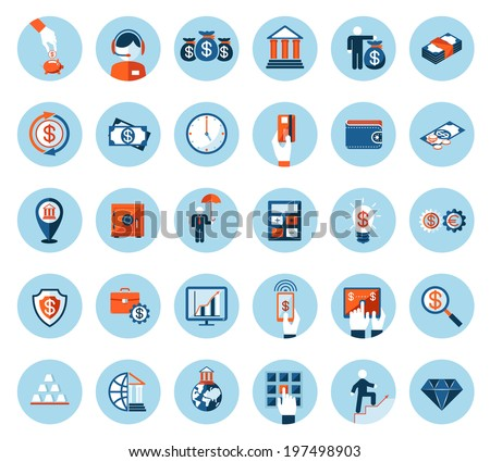 Large set of finance and banking icons in colored flat style on round blue web buttons depicting cash  currencies  payment  wealth  finances  banking  business and success - stock vector