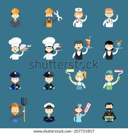 Large set of funny professional people avatars with a doctor  nurse  architect  builder  chef  cook  water  waitress  policeman  policewoman  painter  pilot  priest  air hostess and farmer - stock vector