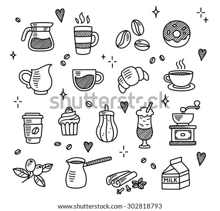 Large set of hand drawn coffee doodles: drinks, desserts, beans and other related objects. - stock vector