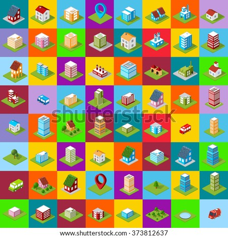 Large set of icons isometric house, city symbols and icons. City icons. - stock vector
