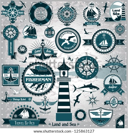 Large set of marine labels and stamps - stock vector
