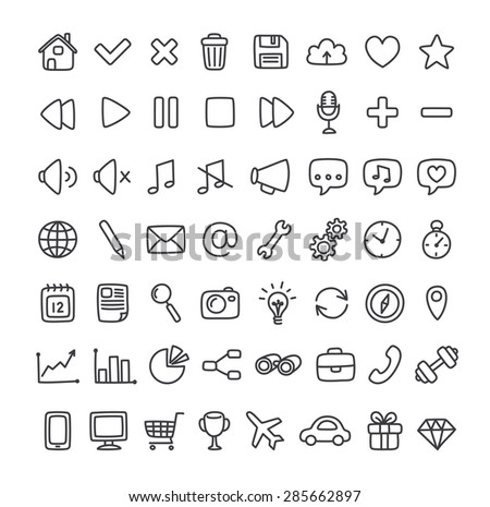 Large set of multipurpose interface icons for web or apps: communication, media, shopping and more. Clean and minimalistic, but with a personal hand drawn feel. Thin line icons isolated on white. - stock vector