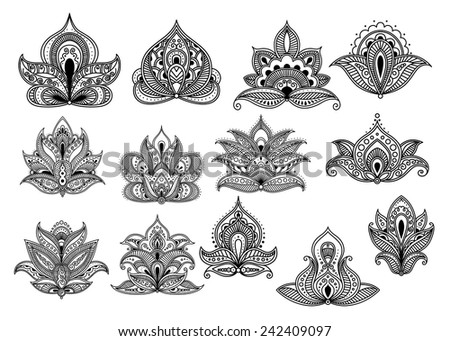 Large set of ornate black and white paisley vector floral design elements or motifs with intricate patterns - stock vector