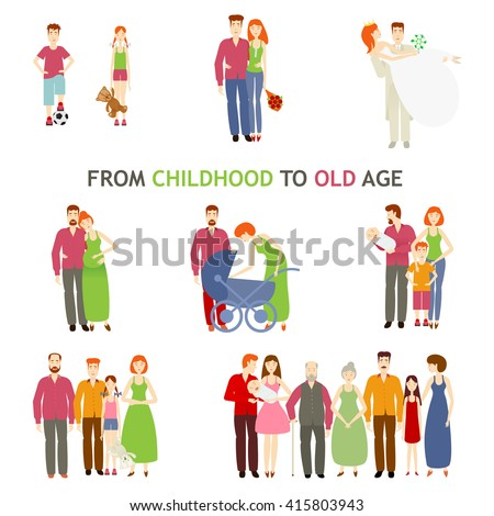 large set of people of different ages, vector flat is isolated on a white background, life, from birth to old age, story of love, family history, growing up people, small to old, set family love store - stock vector