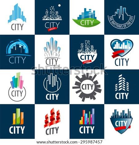 large set of vector logos city - stock vector