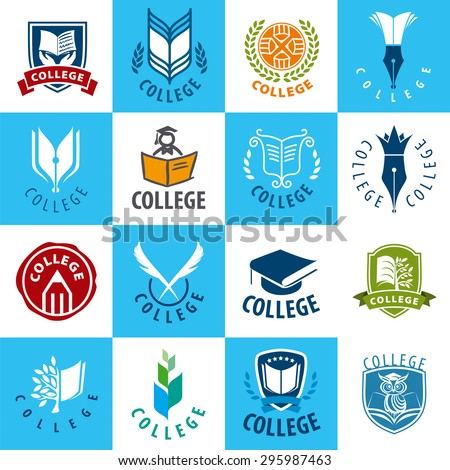 large set of vector logos College - stock vector
