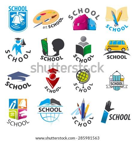 large set of vector logos School - stock vector