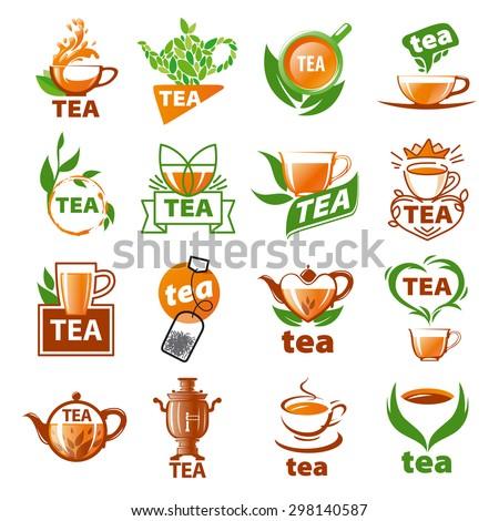large set of vector logos tea - stock vector